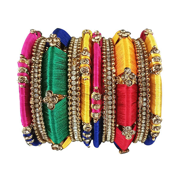 Sejal Multicolor Thread Austrian Stone Bangle Set