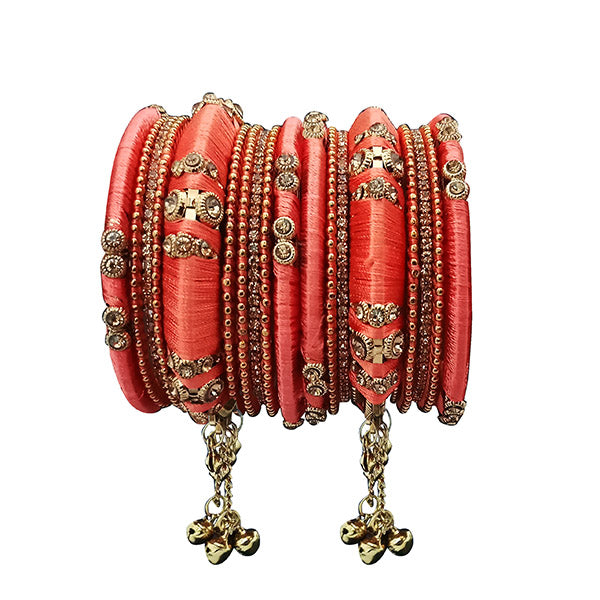 Sejal Peach Thread Austrian Stone Bangle Set