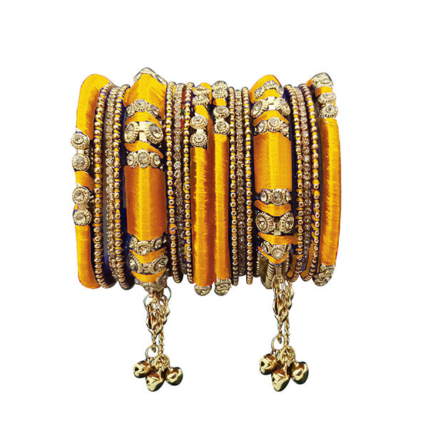 Sejal Yellow Thread Austrian Stone Bangle Set