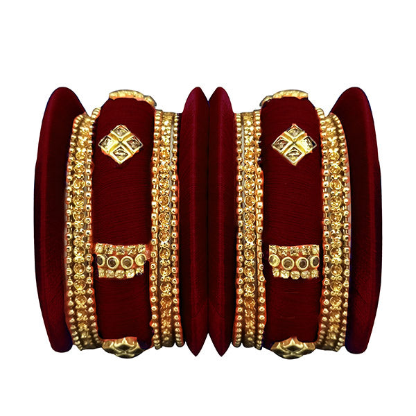 Sejal Maroon Thread Austrian Stone Bangle Set