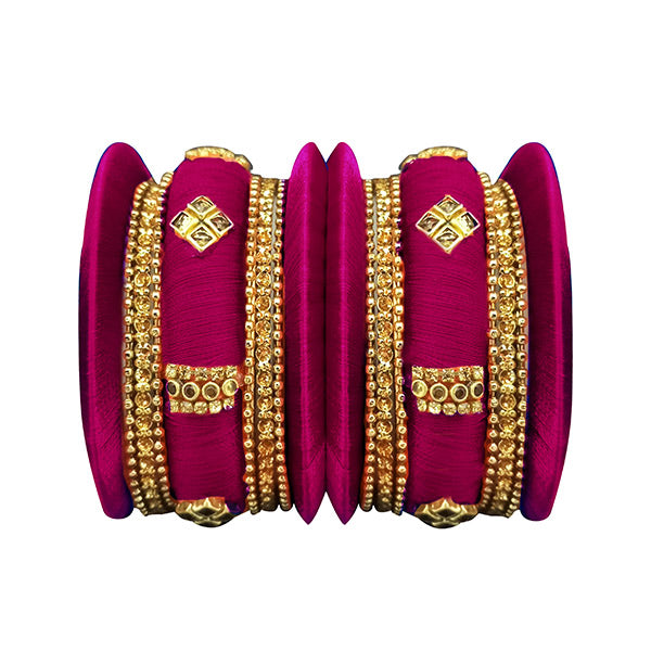 Sejal Purple Thread Austrian Stone Bangle Set