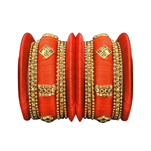 Sejal Orange Thread Austrian Stone Bangle Set