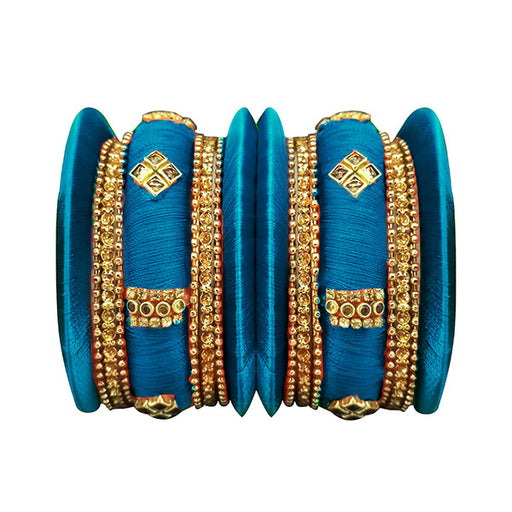 Sejal Blue Thread Austrian Stone Bangle Set