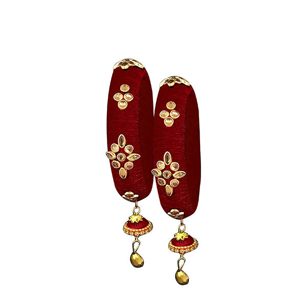 Sejal Maroon Thread Kundan Stone Bangle Set