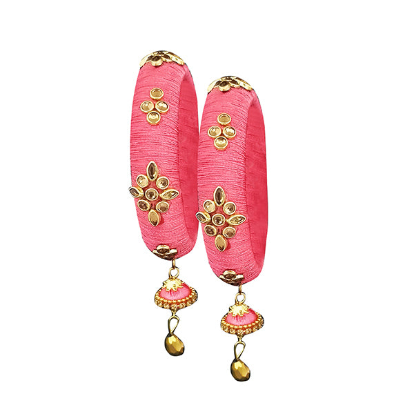 Sejal Pink Thread Kundan Stone Bangle Set
