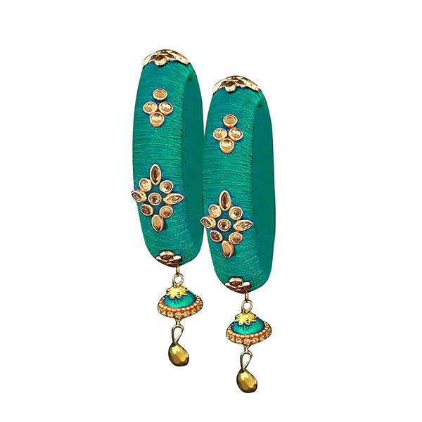 Sejal Green Thread Kundan Stone Bangle Set
