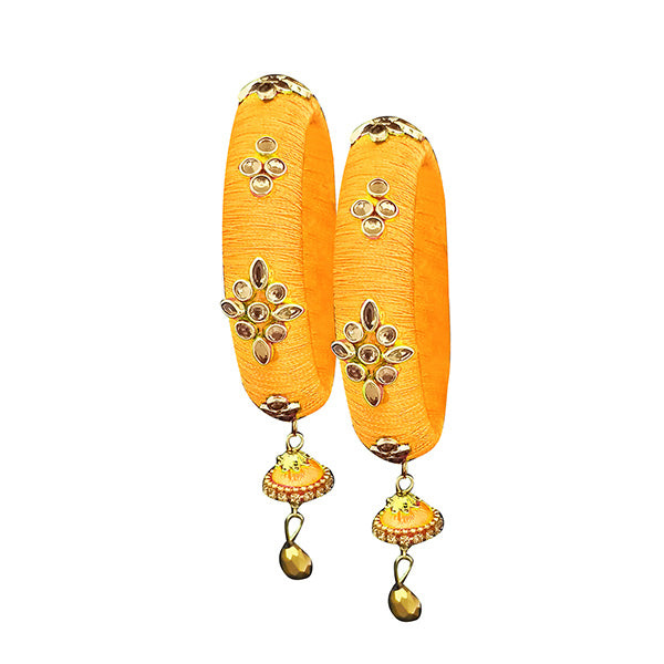 Sejal Yellow Thread Kundan Stone Bangle Set