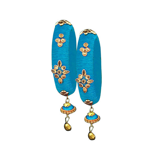 Sejal Blue Thread Kundan Stone Bangle Set