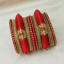 Sejal Gold Plated Maroon Austrian Stone Thread Bangle Set