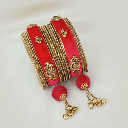 Sejal Gold Plated Red Austrian Stone Thread Bangle Set