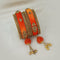 Sejal Gold Plated Orange Austrian Stone Thread Bangle Set