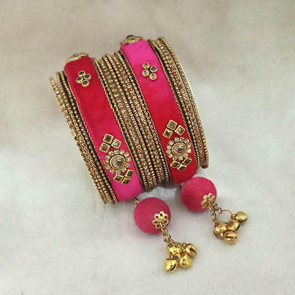 Sejal Gold Plated Pink Silk Thread Bangle Set