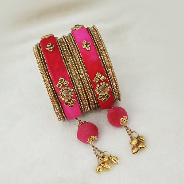 Sejal Gold Plated Pink Austrian Stone Thread Bangle Set