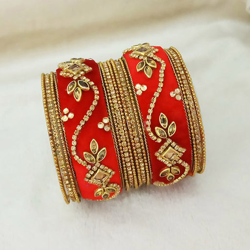 Sejal Gold Plated Red Austrian Stone Velvet Bangle Set
