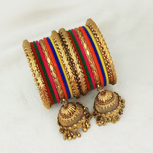 Sejal Gold Plated Multi Velvet Bangle Set