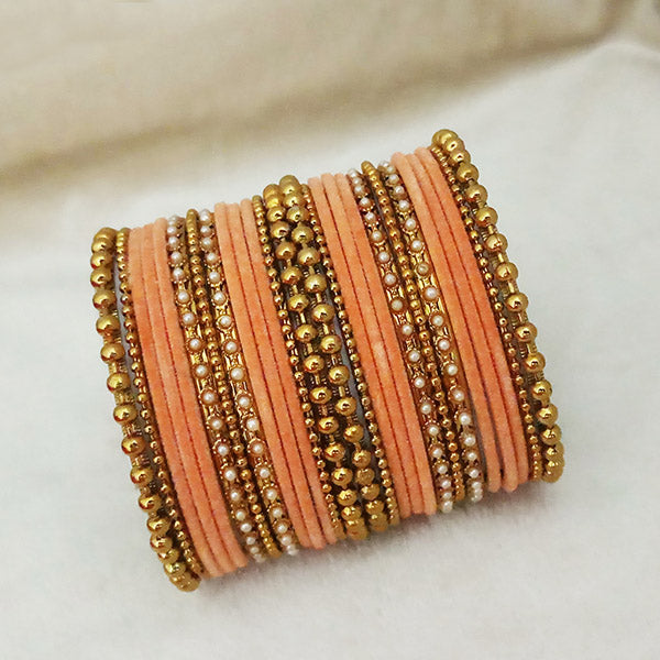 Sejal Gold Plated Peach Velvet Bangle Set