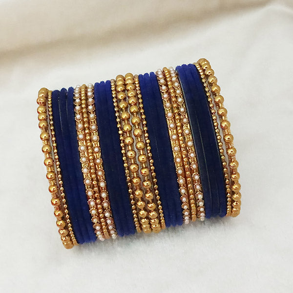 Sejal Gold Plated Blue Velvet Bangle Set