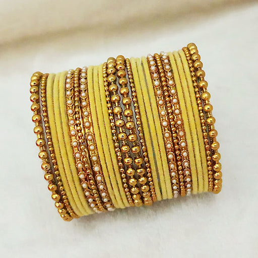 Sejal Gold Plated Yellow Velvet Bangle Set