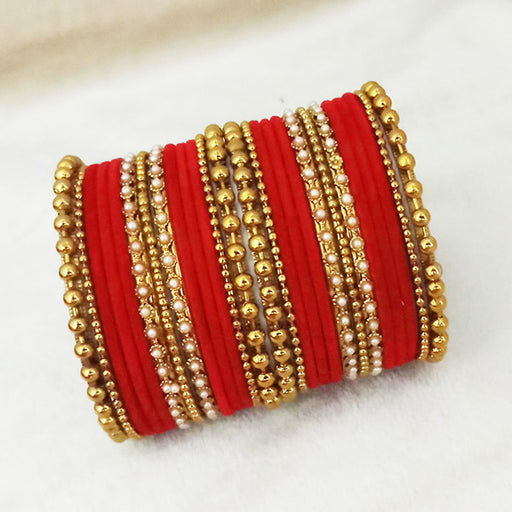 Sejal Gold Plated Red Velvet Bangle Set