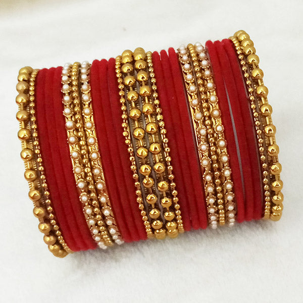 Sejal Gold Plated Maroon Velvet Bangle Set