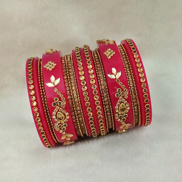 Sejal Gold Plated Pink Austran Stone Bangle Set