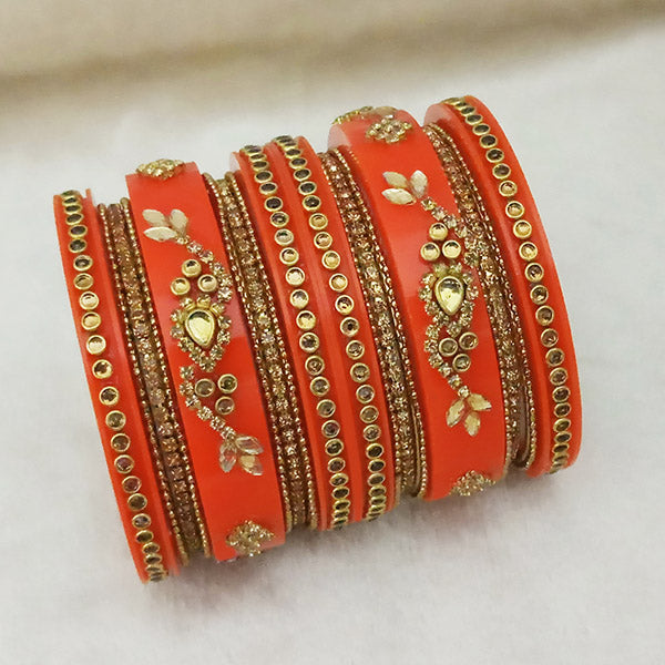 Sejal Gold Plated Orange Austrian Stone Bangle Set