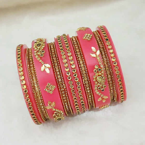 Sejal Gold Plated Pink Austrian Stone Bangle Set