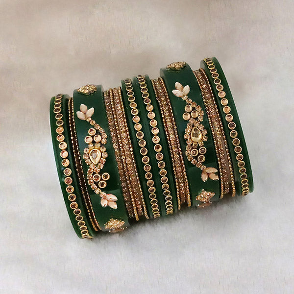 Sejal Gold Plated Green Austrian Stone Bangle Set
