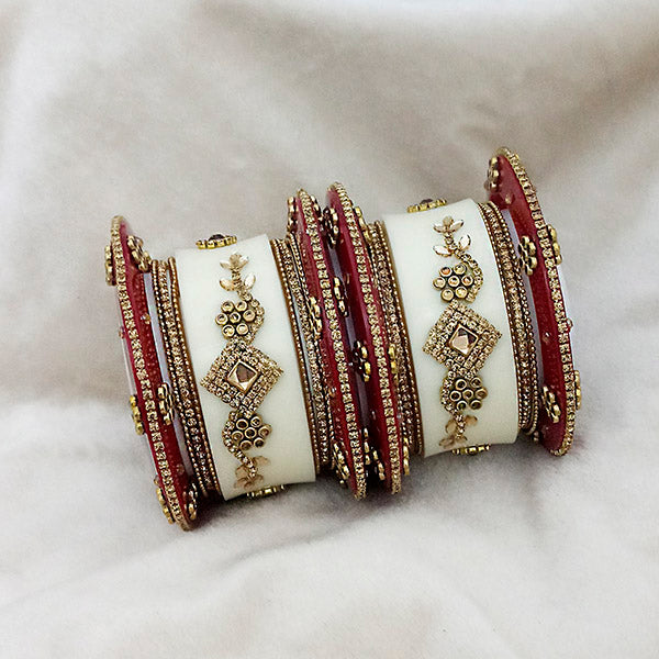 Sejal White And  Maroon Austrian Stone Bangle Set