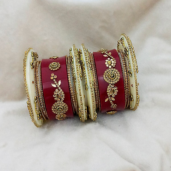 Sejal Gold Plated Maroon Austrian Stone Bangle Set