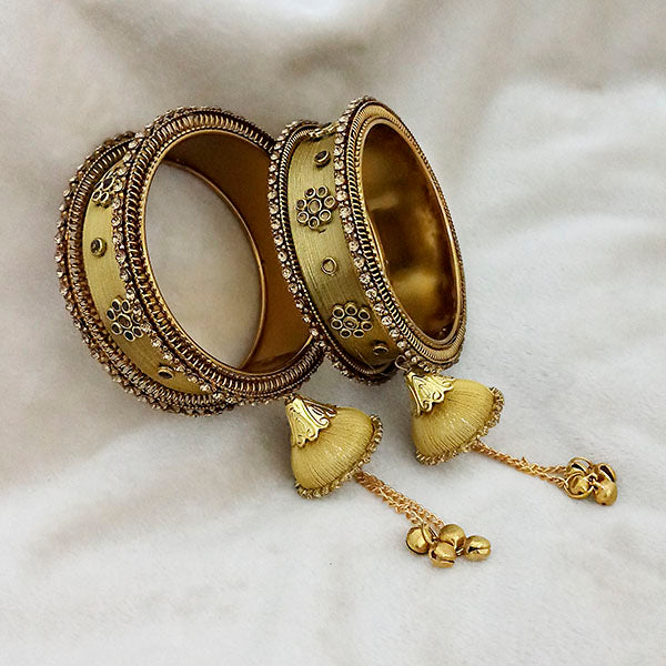 Sejal Gold Plated Brown Austrian Stone Thread Bangle Set
