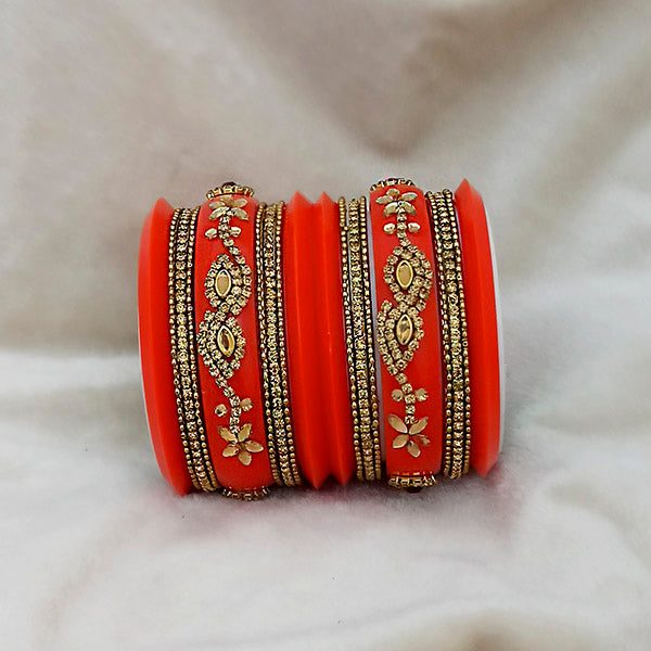Sejal Orange Color Austrian Stone Bangle Set