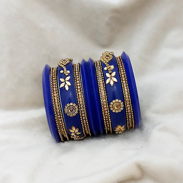 Sejal Blue Color Austrian Stone Bangle Set