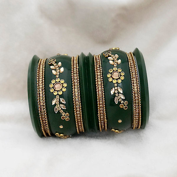 Sejal Green Color Austrian Stone Bangle Set