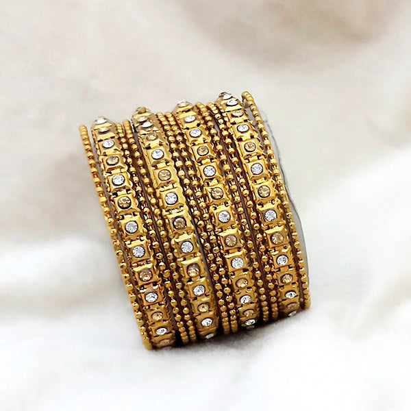 Kriaa Brown And White Austrian Stone Gold Plated Bangles Set