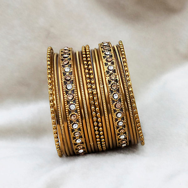 Kriaa Brown Austrian Stone Gold Plated Bangles Set