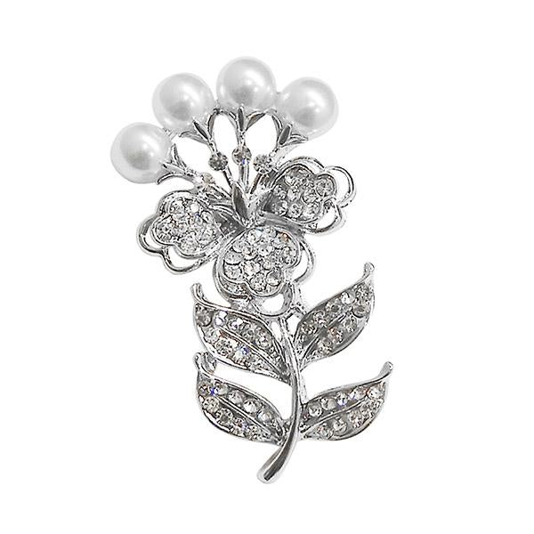 Kriaa White Austrian Stone Silver Plated Saree Pin Brooch