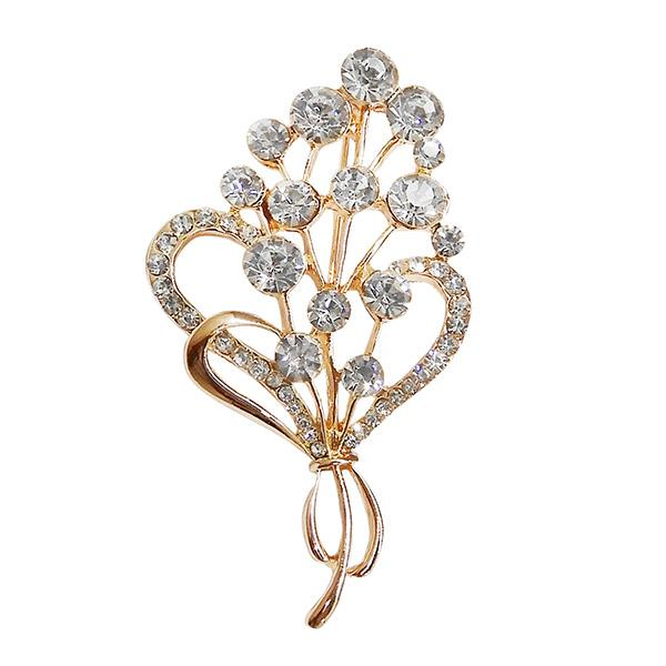 Kriaa White Austrian Stone Gold Plated Saree Pin Brooch