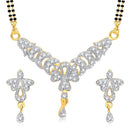 Kriaa Austrian Stone Black Beads Gold Plated Mangalsutra  - 1500606