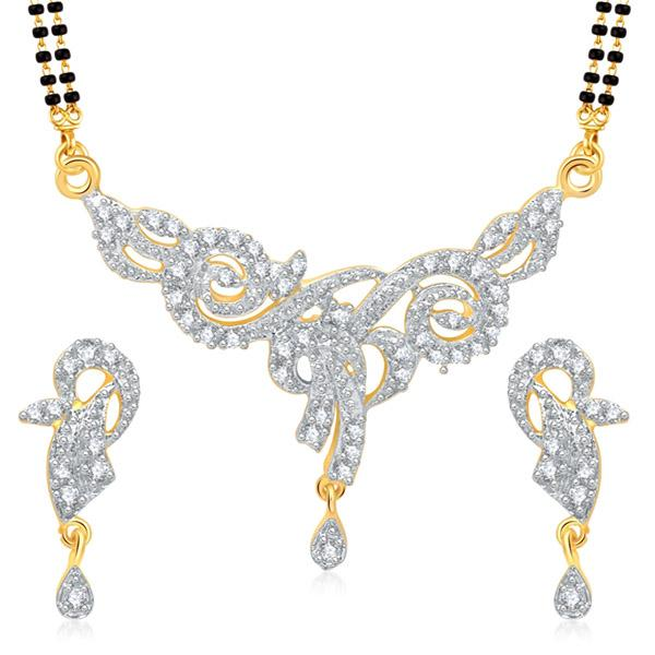 Kriaa Austrian Stone Black Beads Gold Plated Mangalsutra  - 1500612