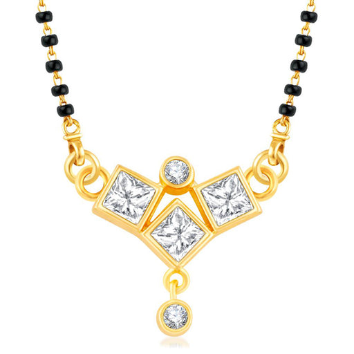 Kriaa American Diamond Gold Plated Mangalsutra - Jewelmaze.com