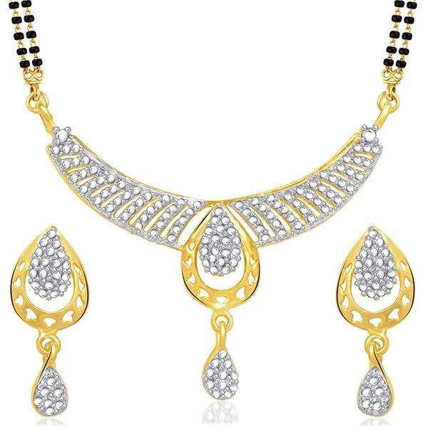 Kriaa Austrian Stone Black Beads Gold Plated Mangalsutra  - 1500686