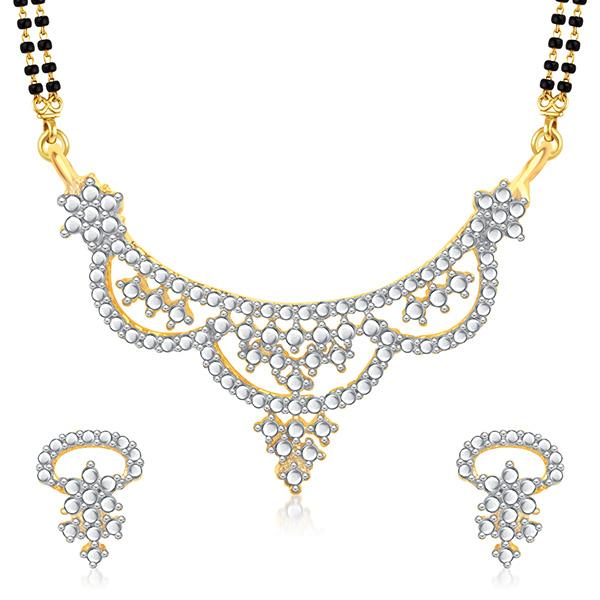 Kriaa Austrian Stone Black Beads Gold Plated Mangalsutra  - 1500688