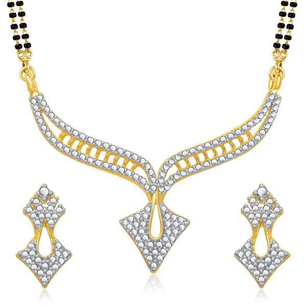 Kriaa Austrian Stone Black Beads Gold Plated Mangalsutra  - 1500691