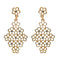 Kriaa Gold Plated White Austrian Stone Dangler Earrings - 1501311