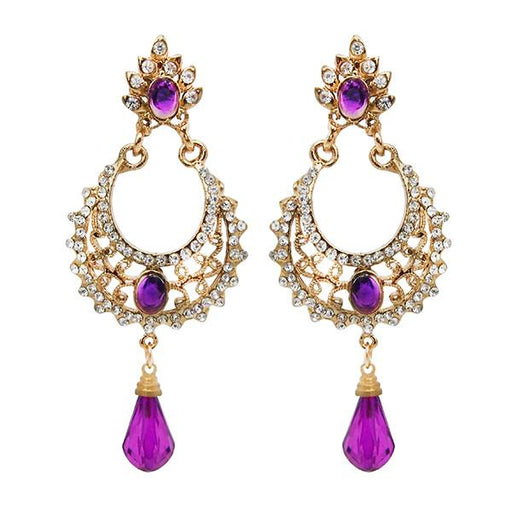 Kriaa Gold Plated White And Purple Austrian Stone Dangler Earrings - 1501319