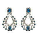 Kriaa Silver Plated Blue Austrian Stone Dangler Earrings - 1501322