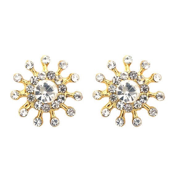Kriaa White Austrian Stone Gold Plated Stud Earrings