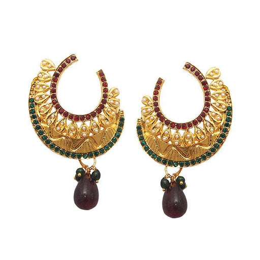 Kriaa Gold Plated Maroon And Green Austrian Stone Dangler Earrings - 1501343