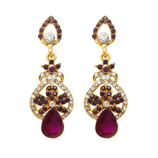 Kriaa Gold Plated Purple Austrian Stone Dangler Earrings - 1501344